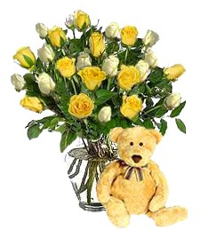Bear w/ 2-Dz White & Yellow Love Roses