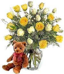 Bear w/ 2-Dz White & Yellow Birthday Roses