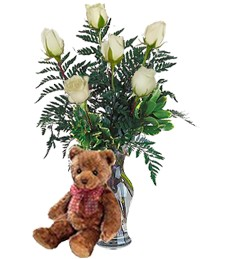 Bear w/ Half-Dozen White Birthday Roses