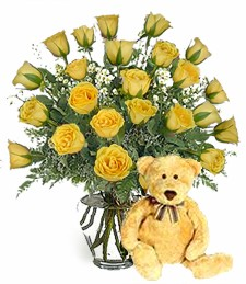 Bear w/ 2-Dz Yellow Birthday Roses