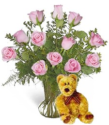 Bear w/ 1-Dz Pink Get Well Roses