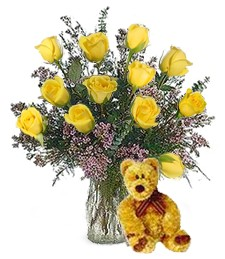 Bear w/ 1-Dz Yellow Birthday Roses