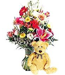 Spring Love Flowers & Bear