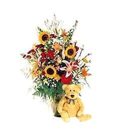 Bright Birthday Bouquet & Bear