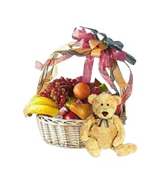 Large Fruit Basket and Bear