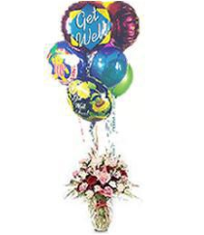 Get Well Soon Pinky Vase & Assorted Balloons