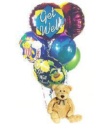 Get Well Soon Teddy Bear & Balloons