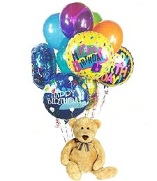 Happy Birthday! Teddy Bear & Balloons