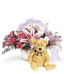 Tender Elegance Spring Basket w/ Bear