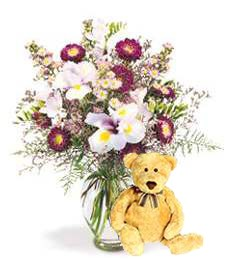 Picturesque Spring Bouquet & Bear