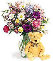 Medley of Get Well Blooms w/ Bear
