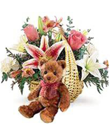 Spring Flower Basket & Bear