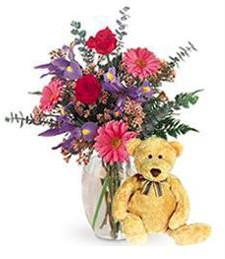 Bright Spring Vase & Bear