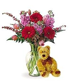 Spring Vase Arrangement & Bear