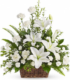 FlowerDelivery.com coupon: White Lilies of Peace Basket