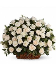 White Silken Rose Basket