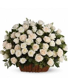 White Silken Rose Basket