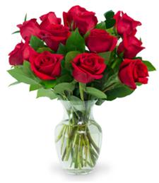 Dozen Red Roses w/Vase