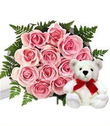Dozen Pink Roses w/Plush Bear