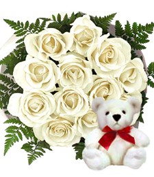Dozen White Roses w/Plush Bear