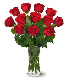 One Dozen Red Roses with vase