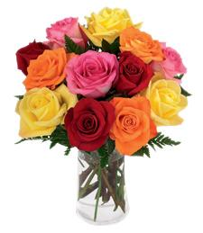 Simply Cheerful Mixed Rose Bouquet - 12 Stems of 16-inch Roses with Vase