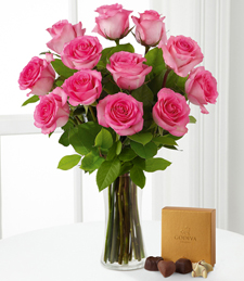 Pink Rose Bouquet with Godiva® Chocolate and Vase