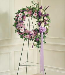 Lilac Hearts Sympathy Wreath