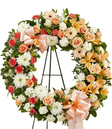Peach Billowing Blossoms Sympathy Wreath