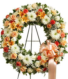 Springtime Peaches Sympathy Wreath