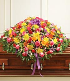 Bright Happy Memories Casket Spray