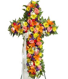 Cross of Rainbows Sympathy Wreath