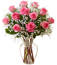 One Dozen Pink Birthday Roses