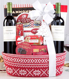 Red Wine Christmas Duet Gift Basket