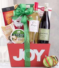 Joy to the World Red and White Collection Gift Basket