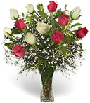 One Dozen Red & White Roses