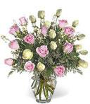 Two-Dozen White & Pink Thank You Roses