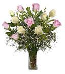 One-Dozen White & Pink Thank You Roses