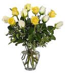 1-Dz White & Yellow Birthday Roses