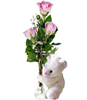 3 Pink Thank You Roses & Bear